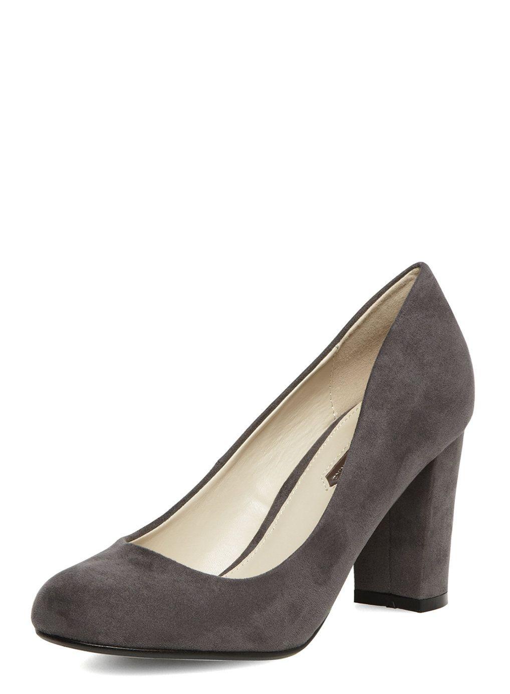 Dorothy Perkins Grey block heel court shoes £29