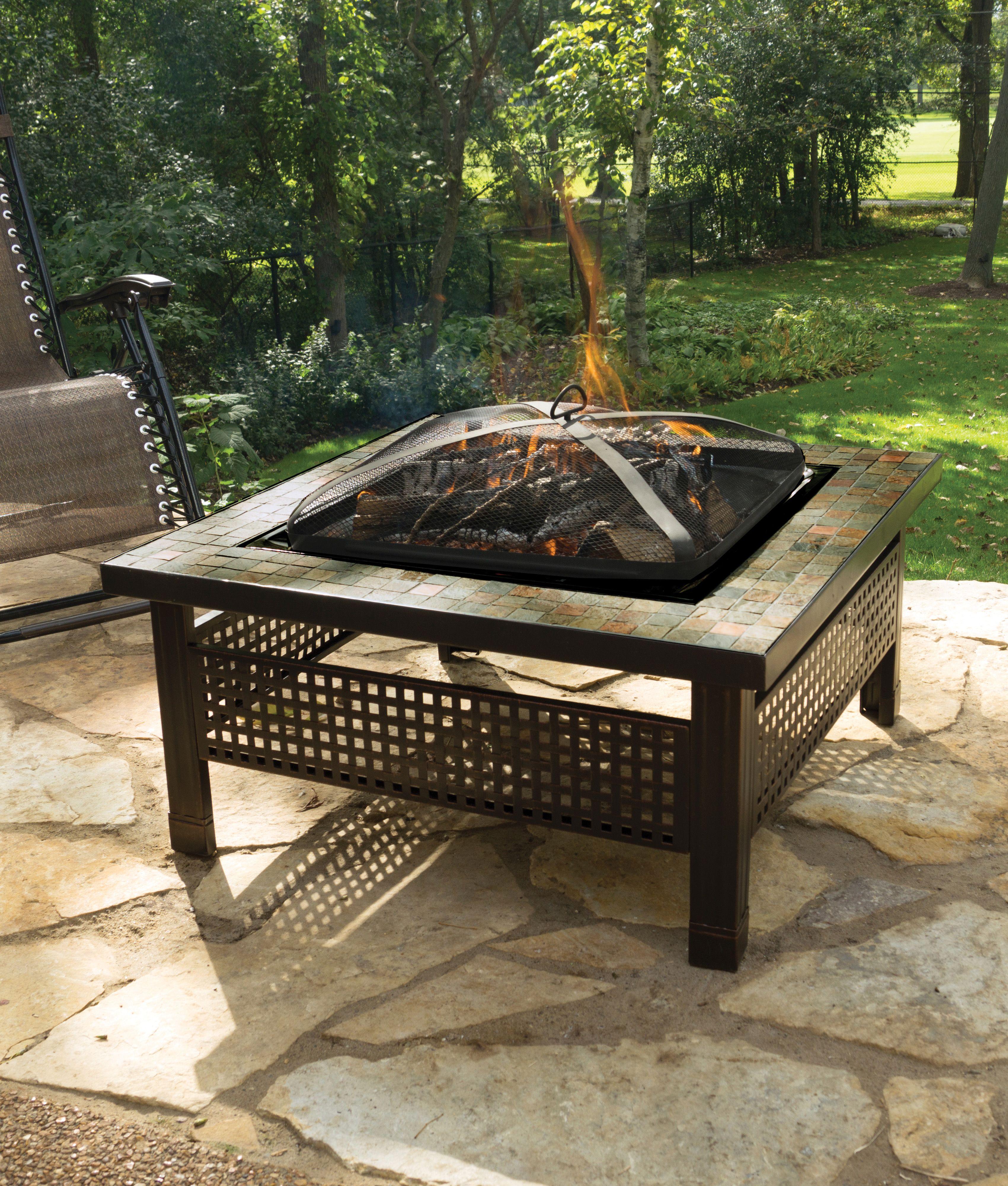 Backyard Creations Sienna 34 Slate Top Fire Pit At Menards Backyard Creations Fire Pit Backyard