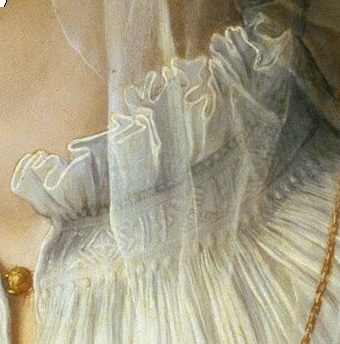 Close-up of needle worked collar from portrait by Bronzino