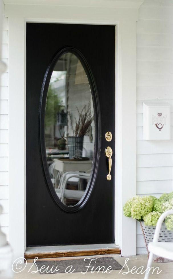 Front Door Redo By Sew A Fine Seam Color Elegant Front Door Paint By Modern Masters Black Front Doo Metal Front Door Painted Front Doors Black Front Doors