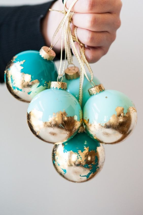 diy painted gold leaf ornaments christmas ideas diy ornaments diy christmas baubles teal - Teal Christmas Ornaments