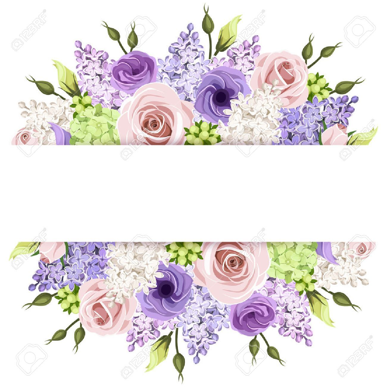 Fondo Con Rosas De Color Rosa Morado Y Blanco Y Flores De Color Lila Eps 10 De Vectores Flower Frame Flower Backgrounds Vintage Flowers