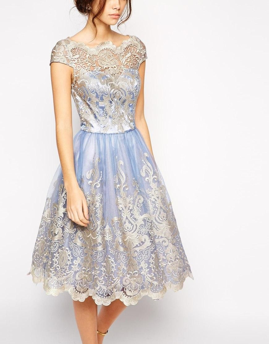 Chi Chi London   Chi Chi London Premium Metallic Lace Prom Dress with Bardot  Neck at ASOS 9f1fa3edca