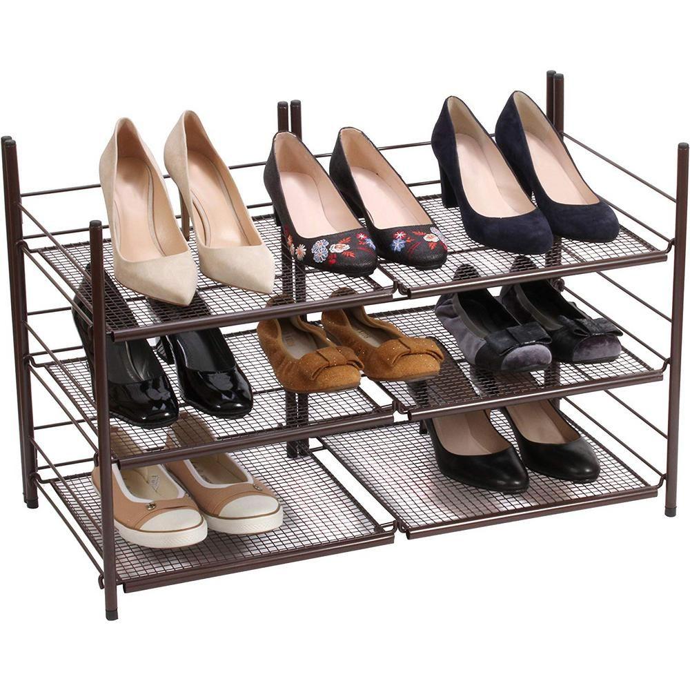 Home It 3 Tier Stackable Shoe Organizer Bronze Shoe Organizer