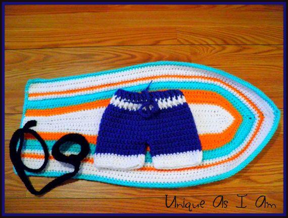 Crochet Surf/'s Up Baby Girl Bikini and SurfboardPhoto Prop