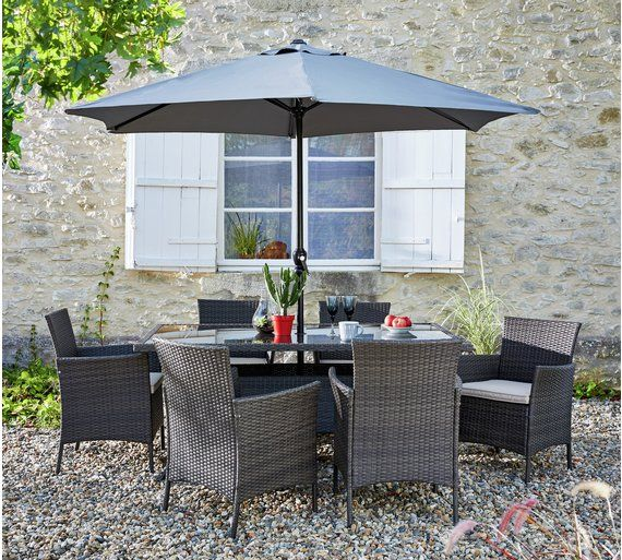buy collection fiji 6 seater rattan patio set grey at argoscouk - Rattan Garden Furniture 6 Seater