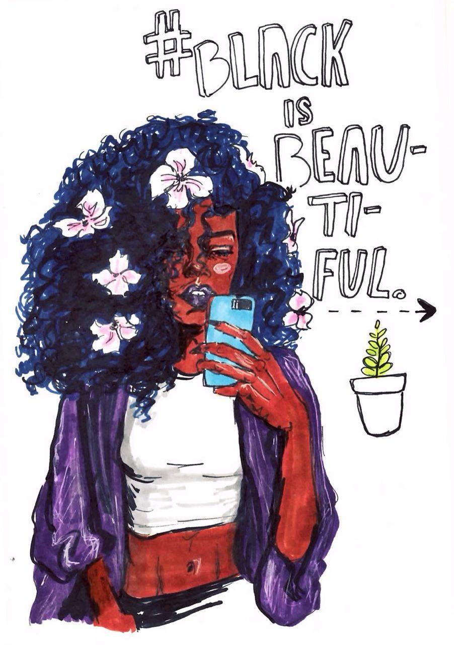 Black girls r pretty 2 black girl art black art black