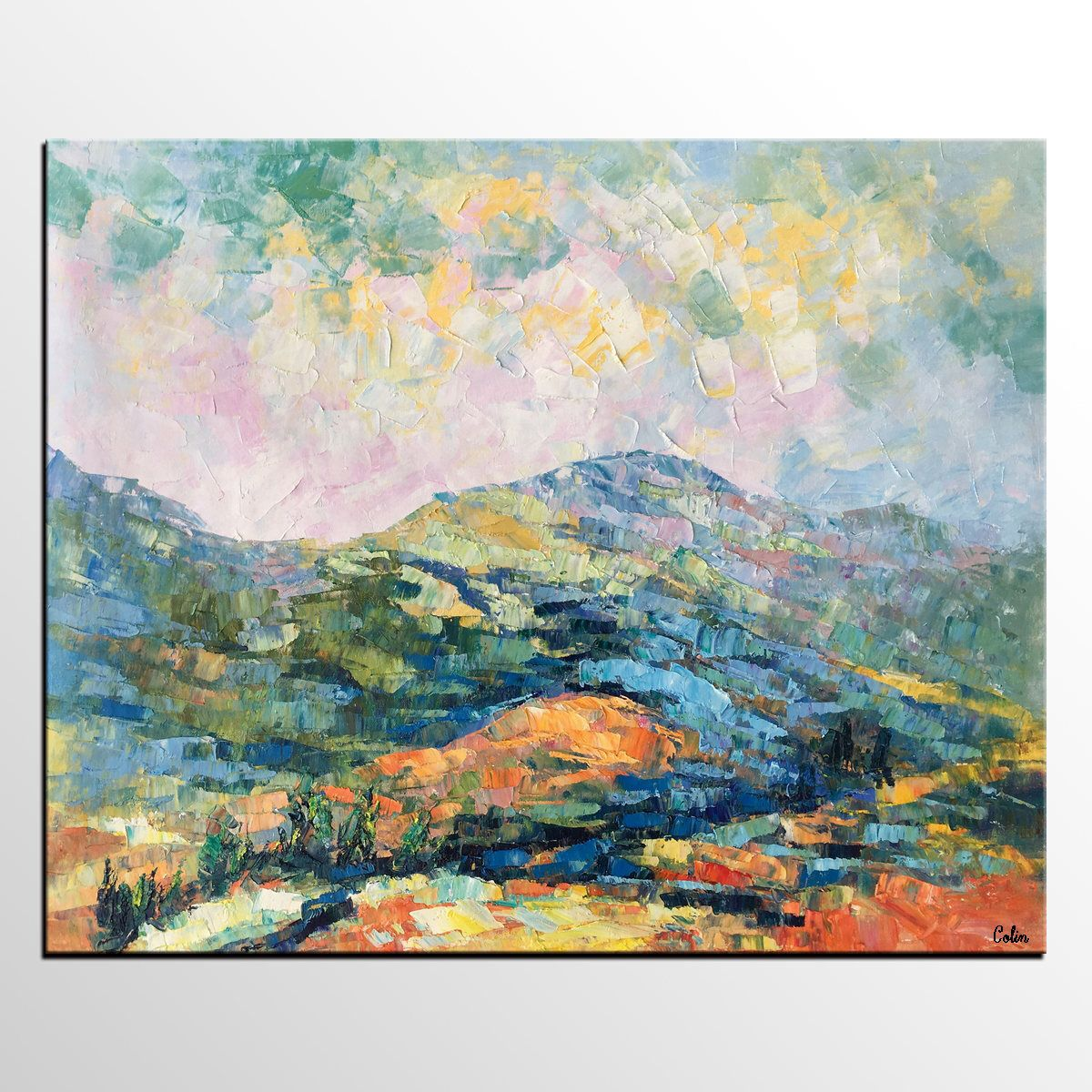 Abstract painting oil painting canvas art mountain landscape