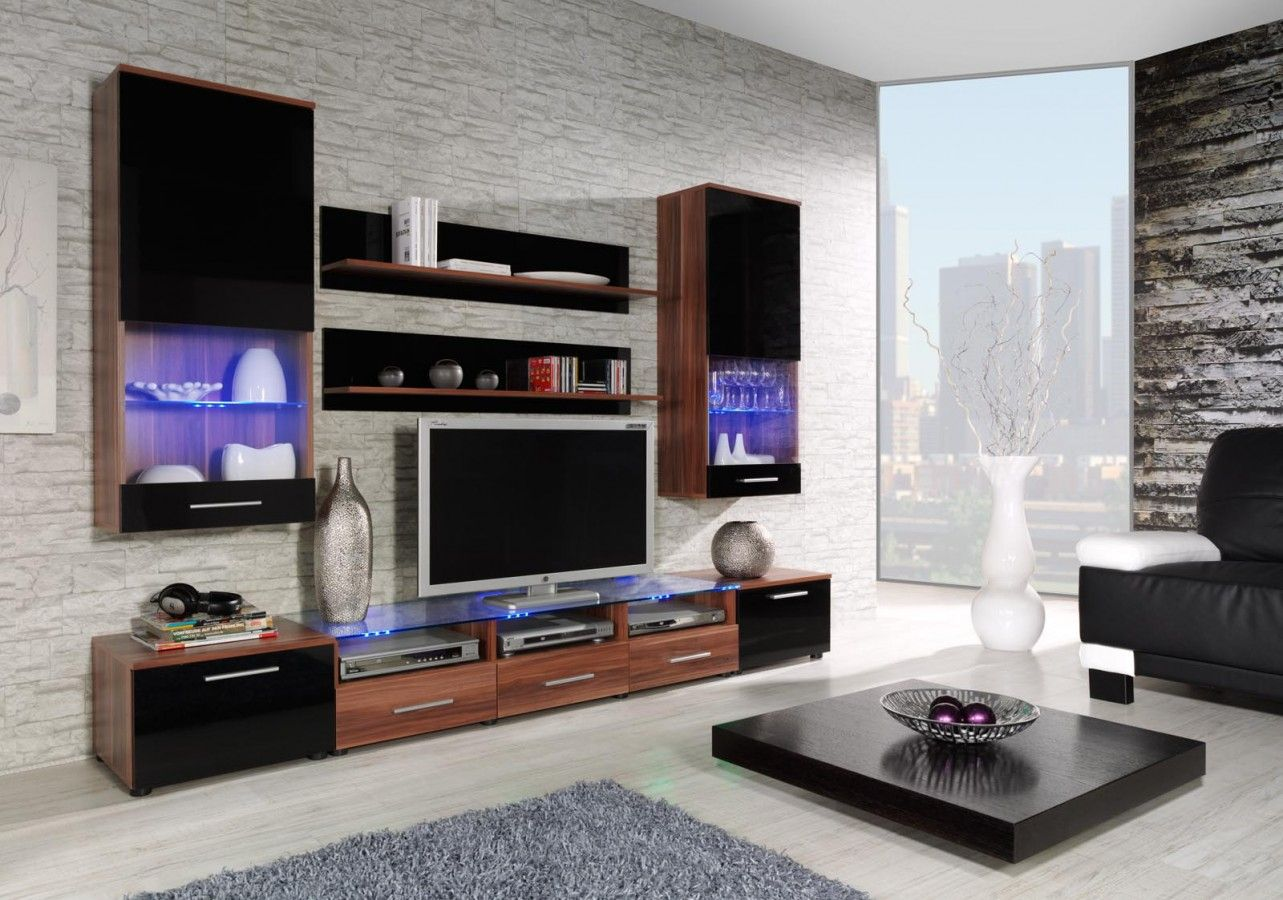 Tv cabinet tv wall unit tv stand with led s modern living room - Entertainment Wall