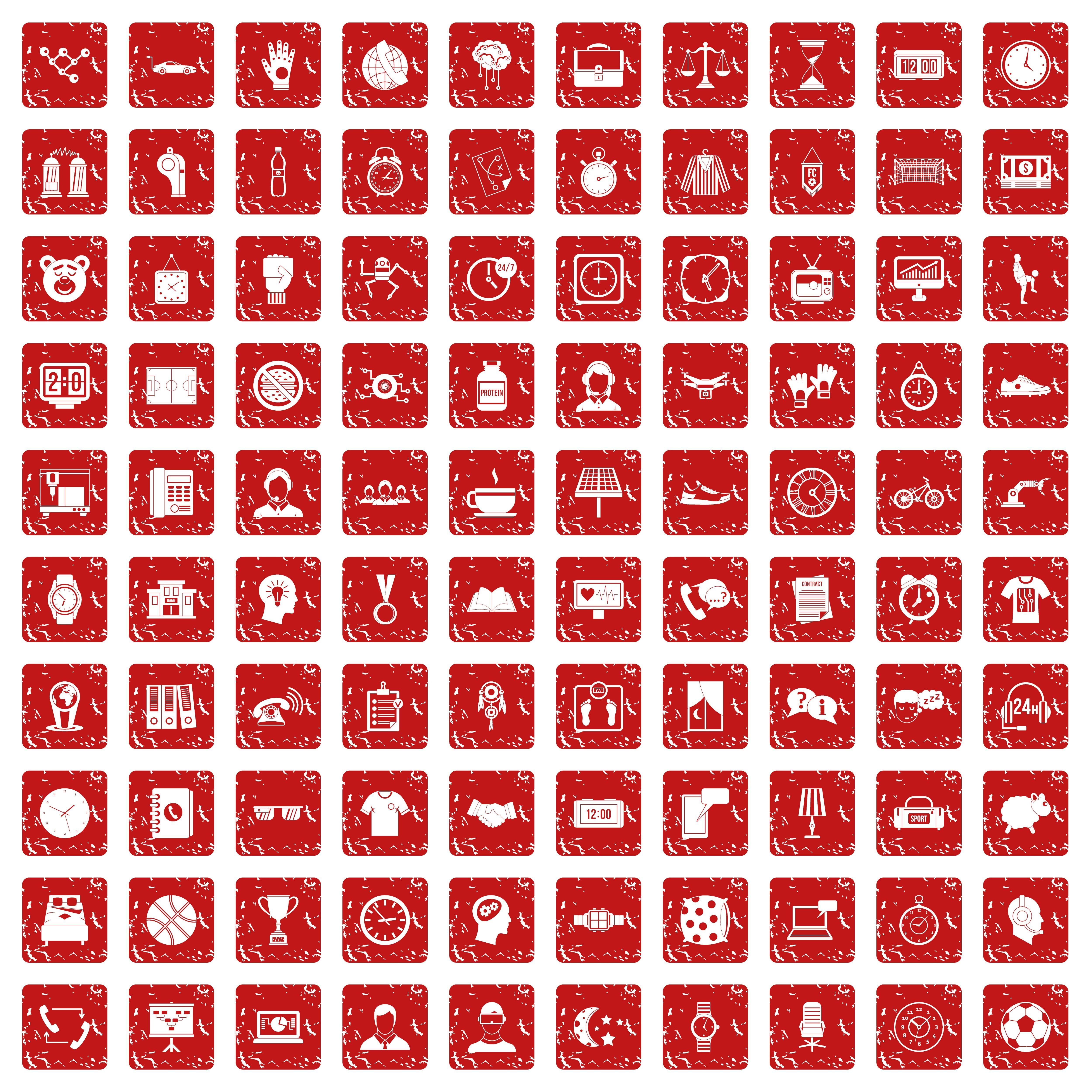100 clock icons set grunge red By Ylivdesign TheHungryJPEG