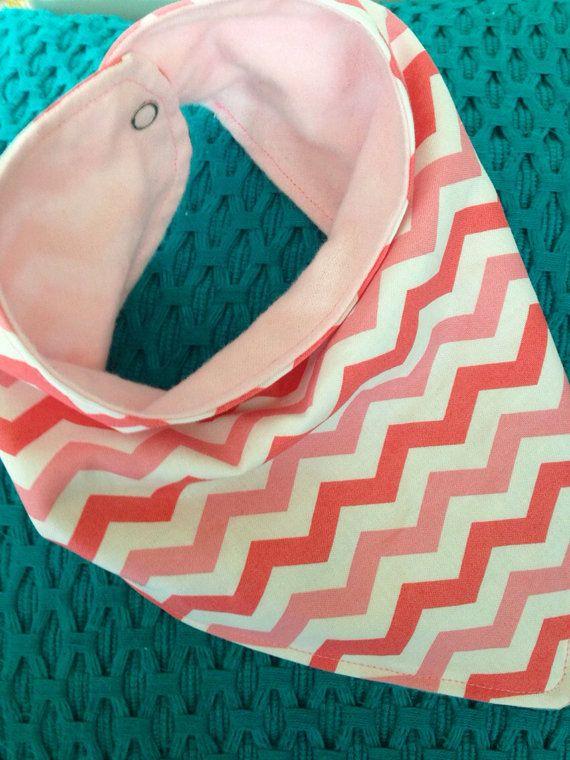 Pinks and white chevron drooly bandana bib by DresPlace on Etsy, $9.50
