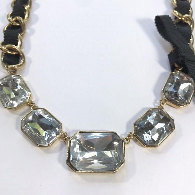 Ann Taylor Statement Necklace Black Ribbon Gold