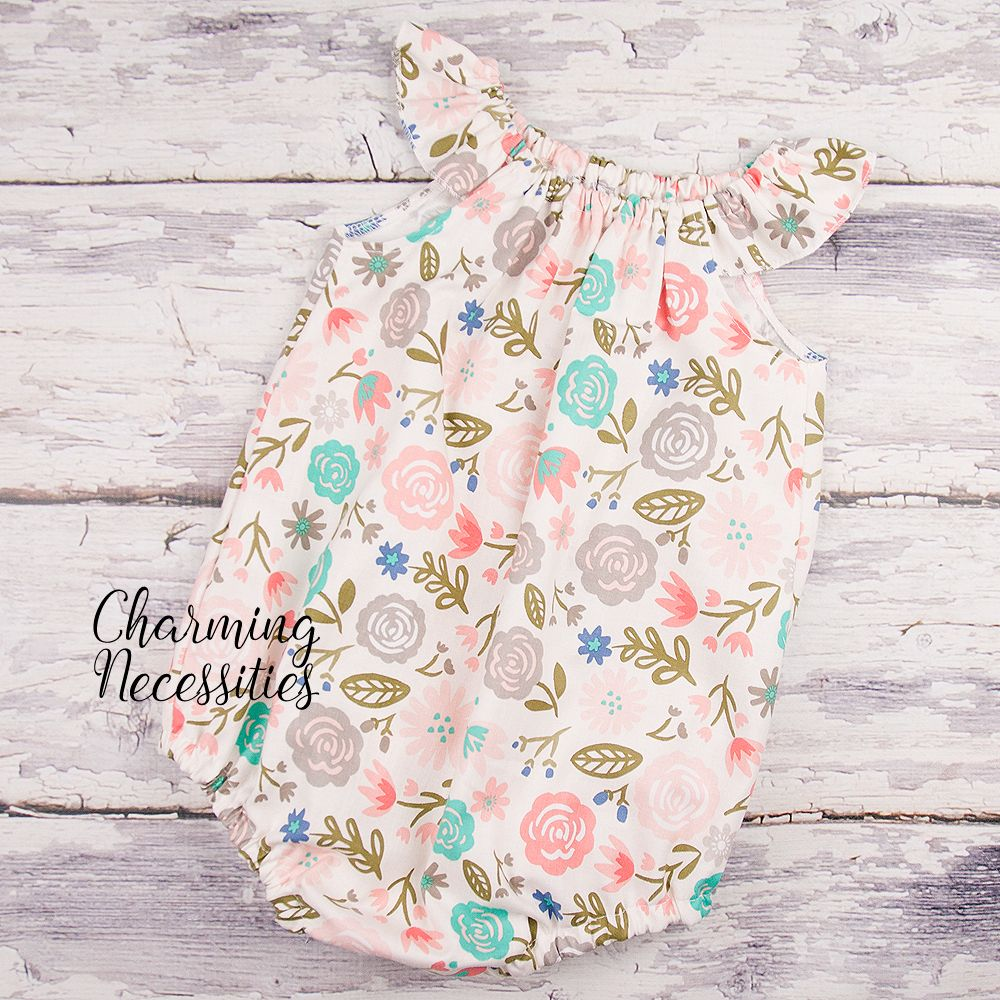 9a6ed6d07 Blush and Gray Floral Bubble Romper, Baby Girl Romper, Easter Bubble,  Modern Boho Romper, Baby Shower Gift, Coming Home Outfit - Charming  Necessities
