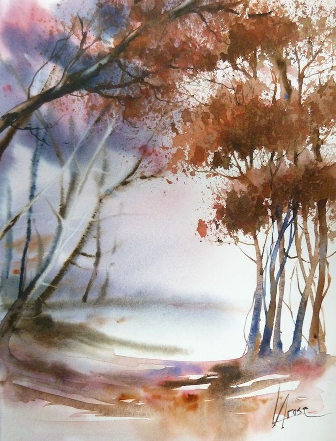 Chantal Jodin Watercolor Paysage Automne Aquarelle Paysage