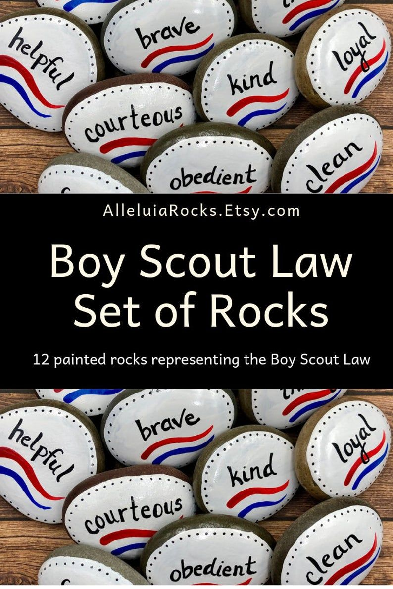 Boy scouts law set of 12 painted stones court of honor