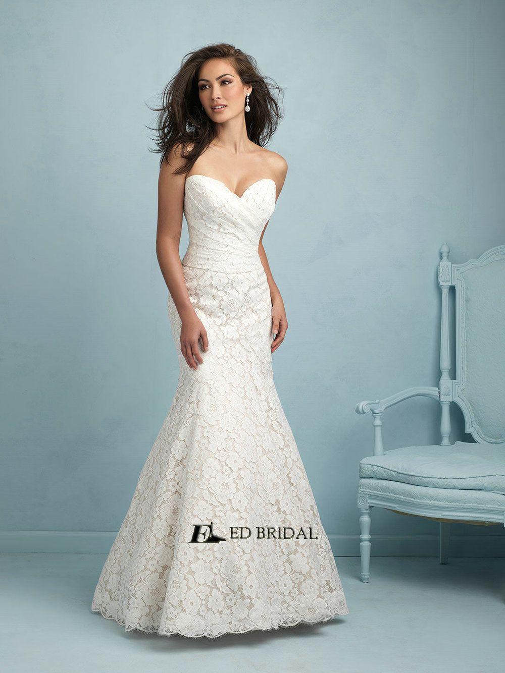 ED-YH2268 Vestidos de Novias Lace Fabrics Pleated Wedding Dresses ...