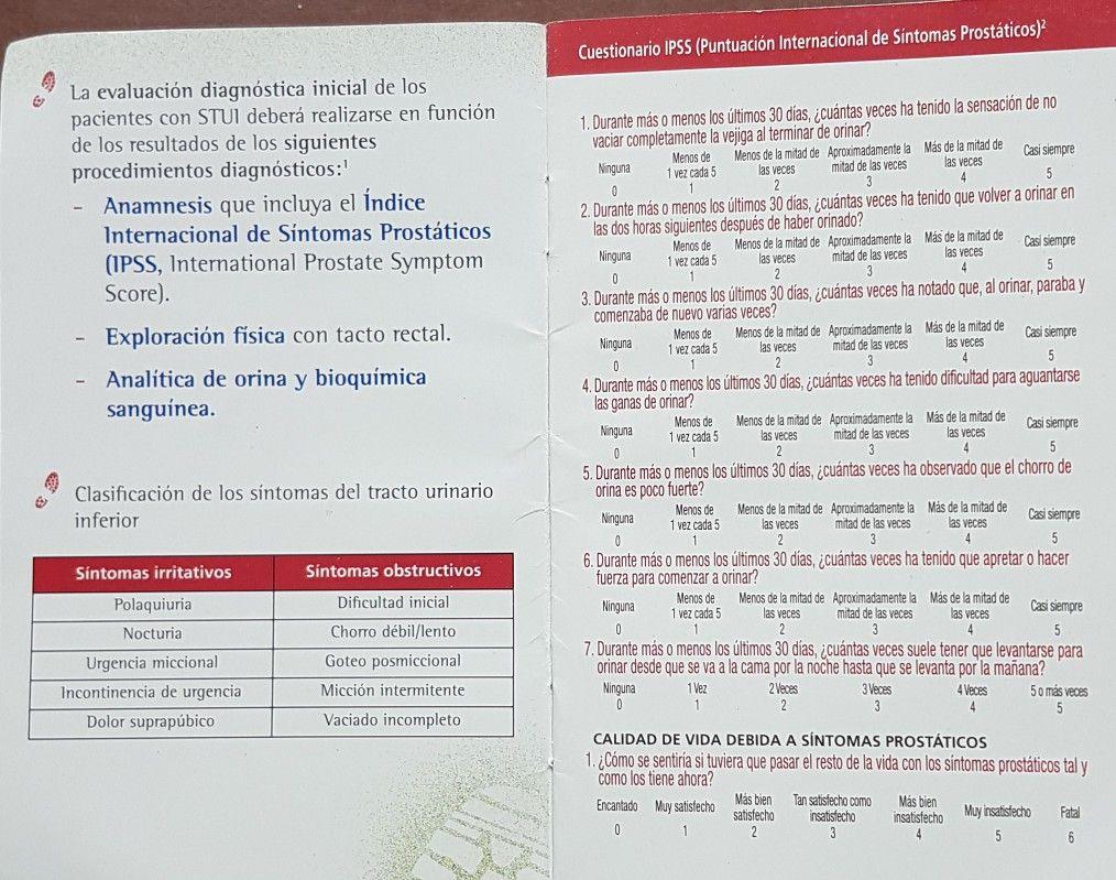 cuestionario ipss sobre la puntuación internacional de síntomas de próstata