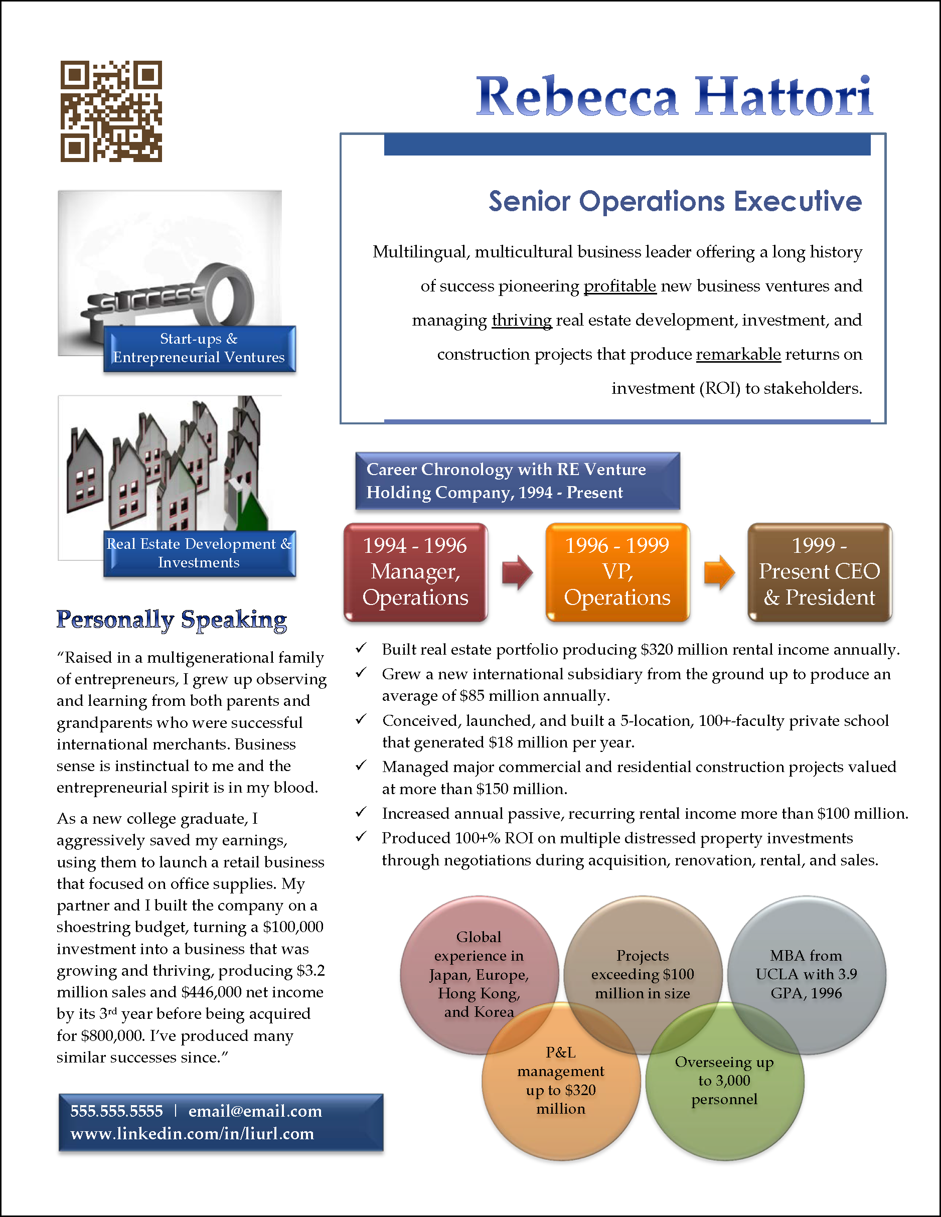 infographic resume example for senior sales manager