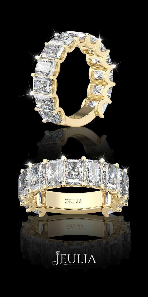Yellow Gold Baguette Cut Created White Sapphire Rhodium Plated Sterling Silver Women's Band #Jeulia