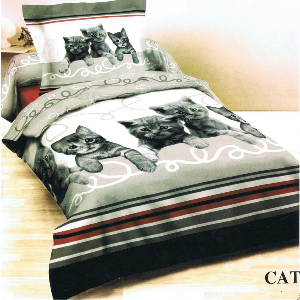 100 Cotton Cute Cuddly Cats Duvet Cover Set Choice Of Double Or