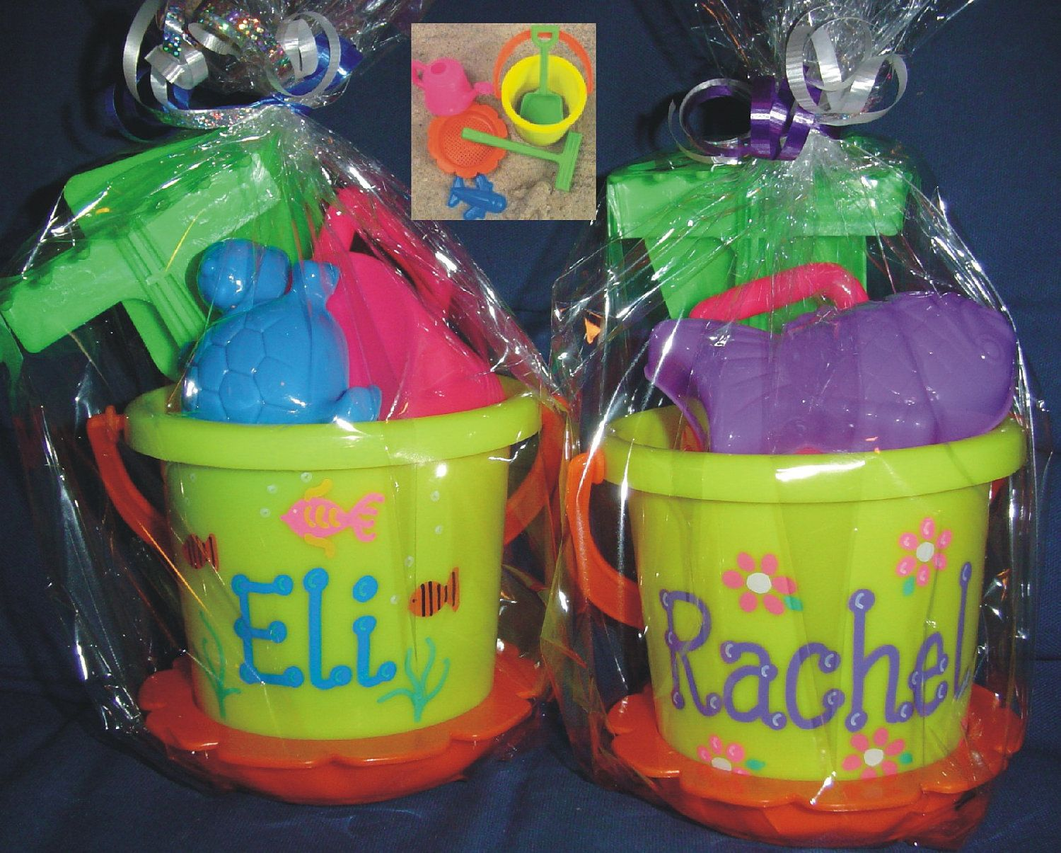 Personalized Pail And Shovel With Toys Beach Set 4 95