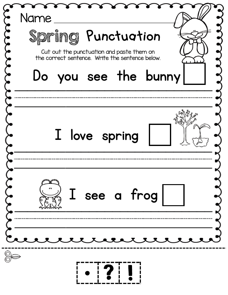April In Kindergarten Free Worksheets Keeping My Kiddo Busy Free Kindergarten Worksheets Kindergarten Writing Punctuation Marks Kindergarten