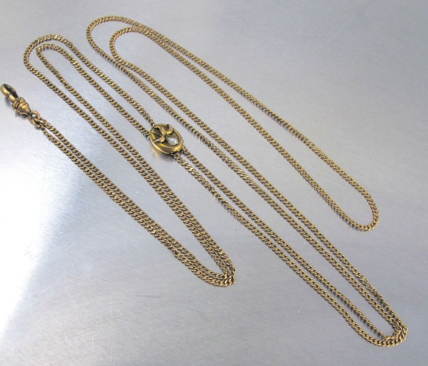 8d406654331 Victorian Watch Chain Necklace, Cala Lily Flower Pearl Slide Charm ...