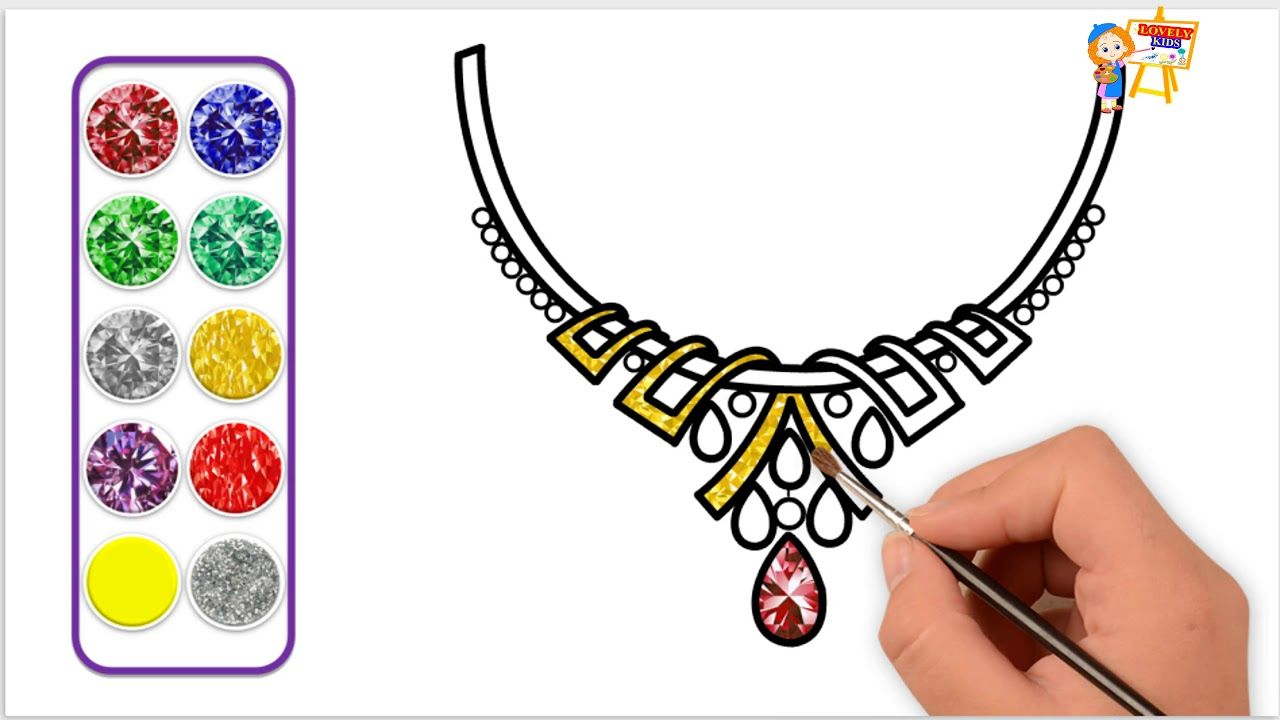 How to draw for kids diamond necklace glittery color coloring