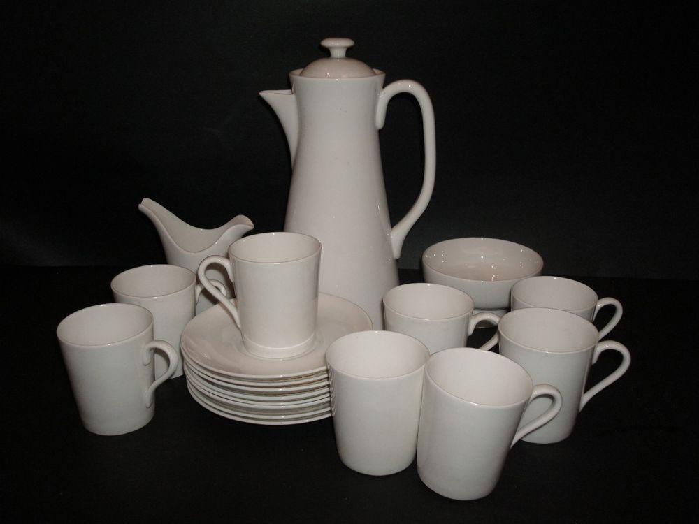 Stig Lindberg Gustavsberg Sweden Service Coffee PotCreamerSugar 8 Cups Saucers Sugar bowl