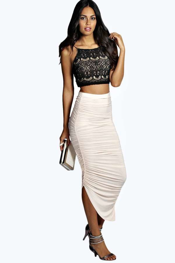 Julia Slinky Rouched Side Midi Skirt #black #lace #crop #rouched #ivory #skirt #fashion #white #sexy