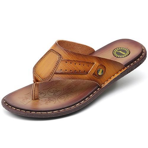 MVVT Classics Summer Shoes Men Slippers Quality Split leather Sandals For  Men Comfortable Flip Flops Men Beach Sandals 6ffd3d5d302