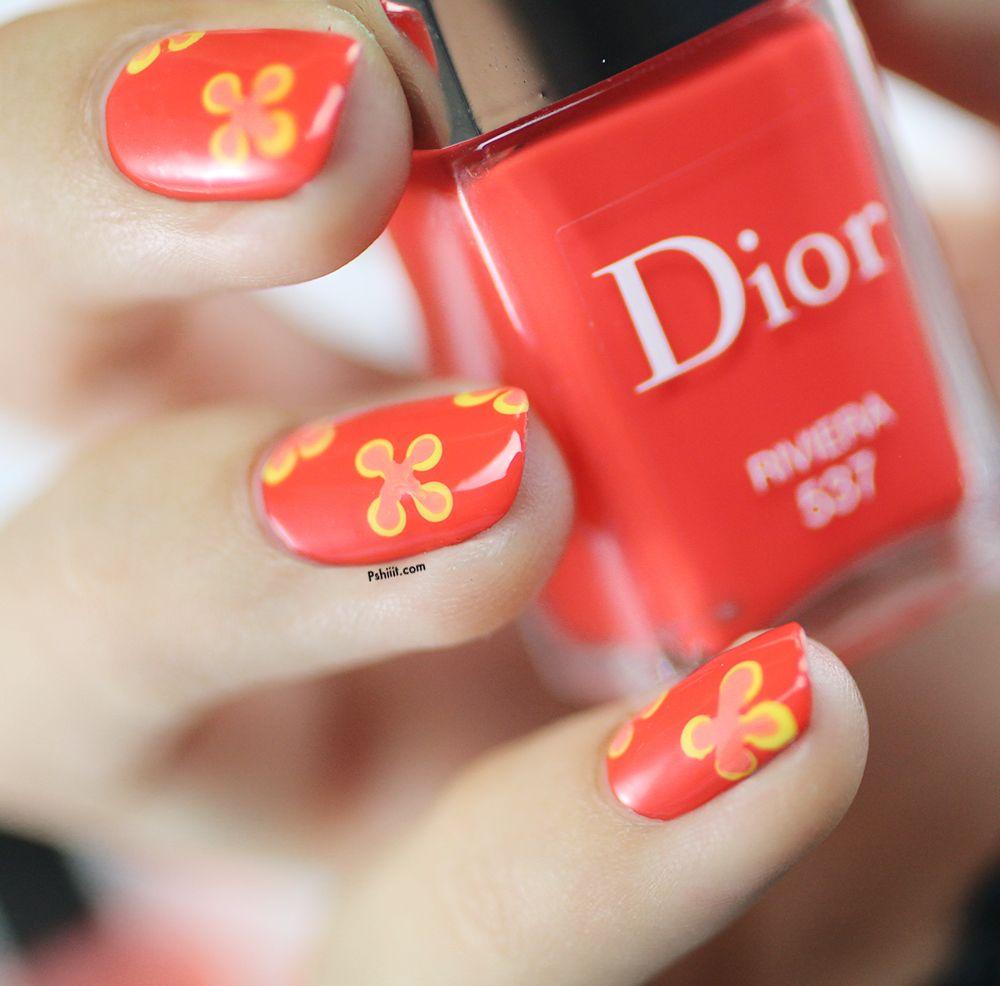 Dior riviera et imprim fleuri tuto nail art fleuri niveau ultra d butant tuto nail art - Nail art debutant ...