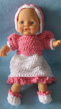 12-Inch Baby Doll Dress, Bonnet & Shoes Set Free Crochet Pattern