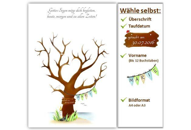 taufbaum taufgeschenk taufe geschenk deko pinterest fingerabdruck baum fingerabdr cke und. Black Bedroom Furniture Sets. Home Design Ideas
