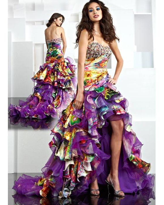Plus size ruffle prom dress