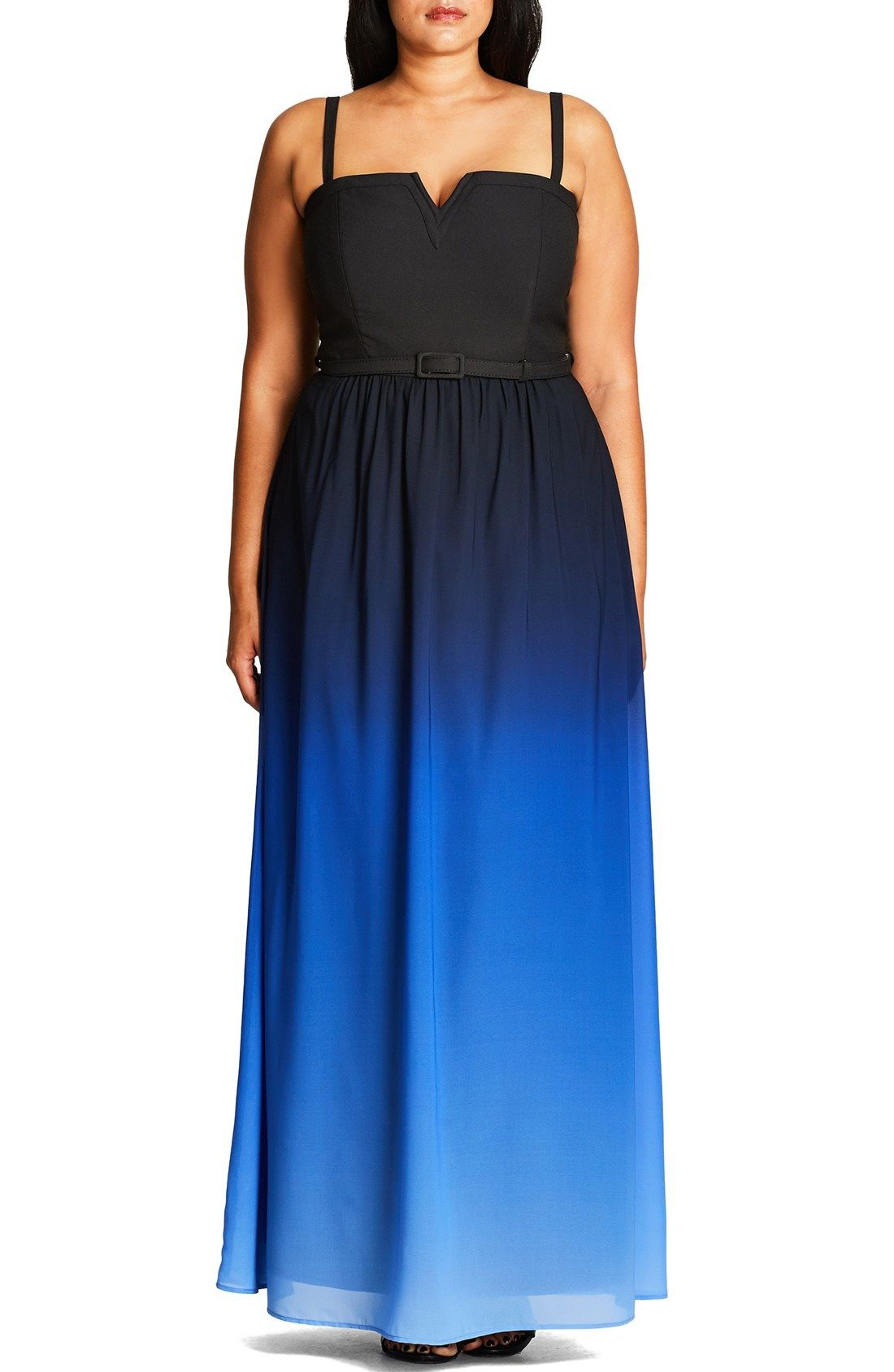 City Chic 'Ombré Queen' Notch Neck Maxi Dress (Plus Size) available at #Nordstrom
