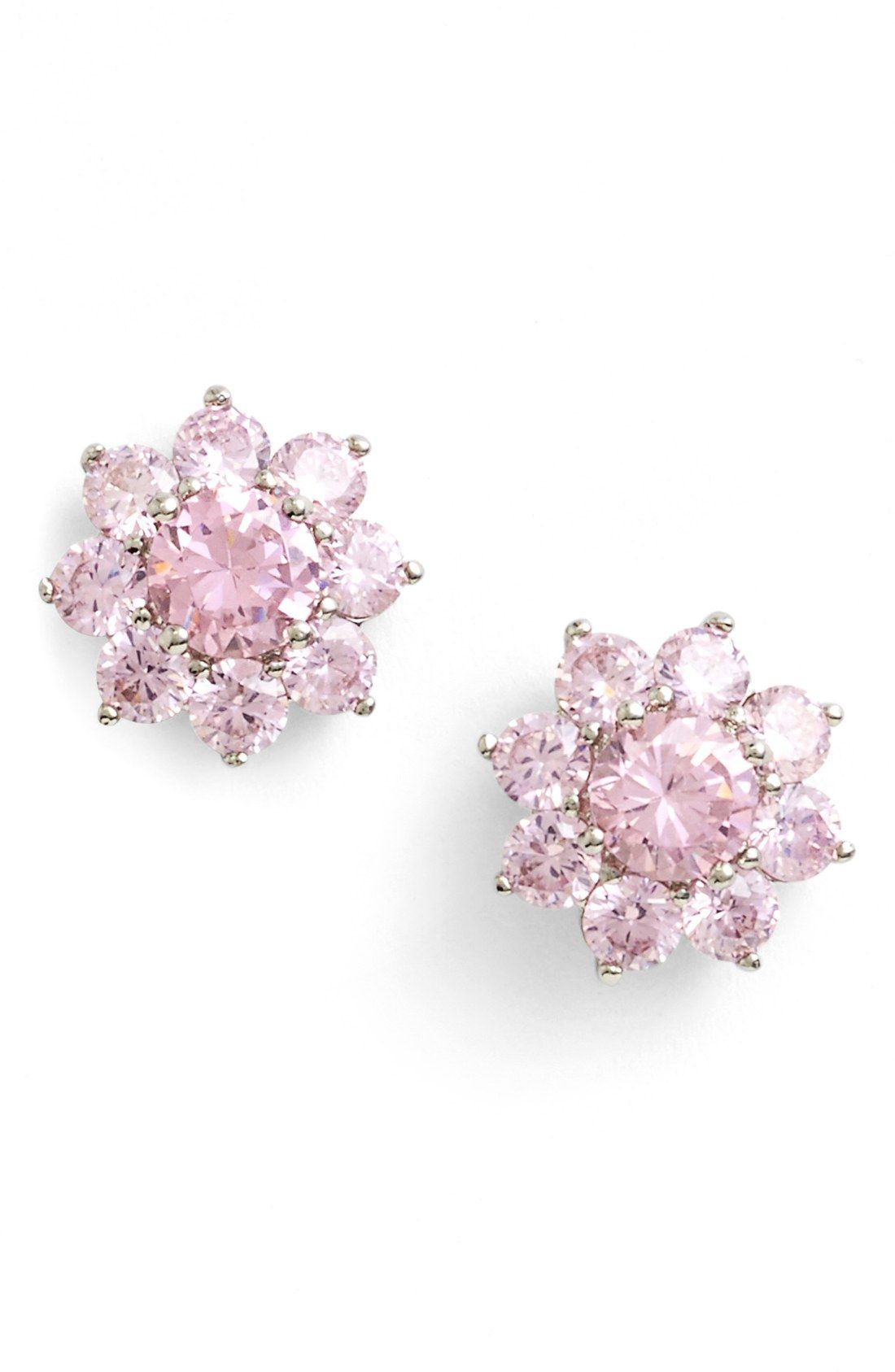 These Sparkly Pale Pink Flower Stud Earrings Are Perfect For Spring Wearing Them With Everything This Season