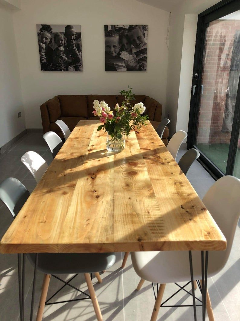 Omni Dining Table With Hairpin Legs Free Delivery Etsy In 2020 Dining Table Reclaimed Dining Table Dining