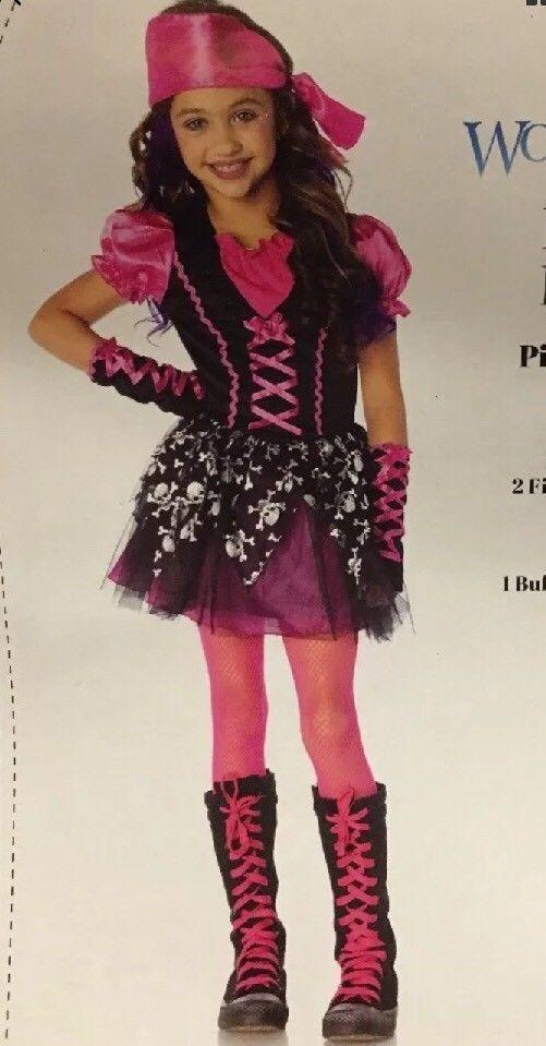pretty pirate girls halloween costume size medium 8 10 tutu pink black