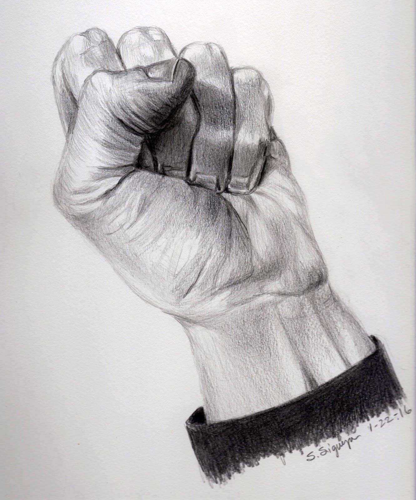 Clenched fist hand drawing