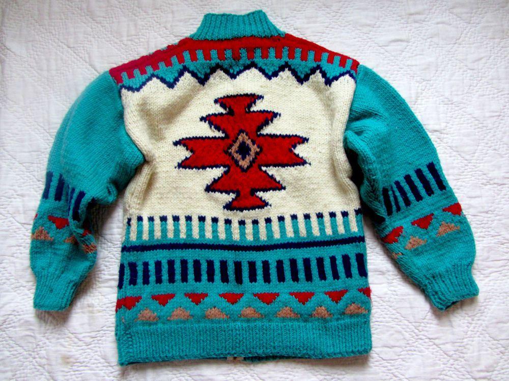 Vintage Aztec Patterned Handknit Cowichan Sweater Cowichan Sweater