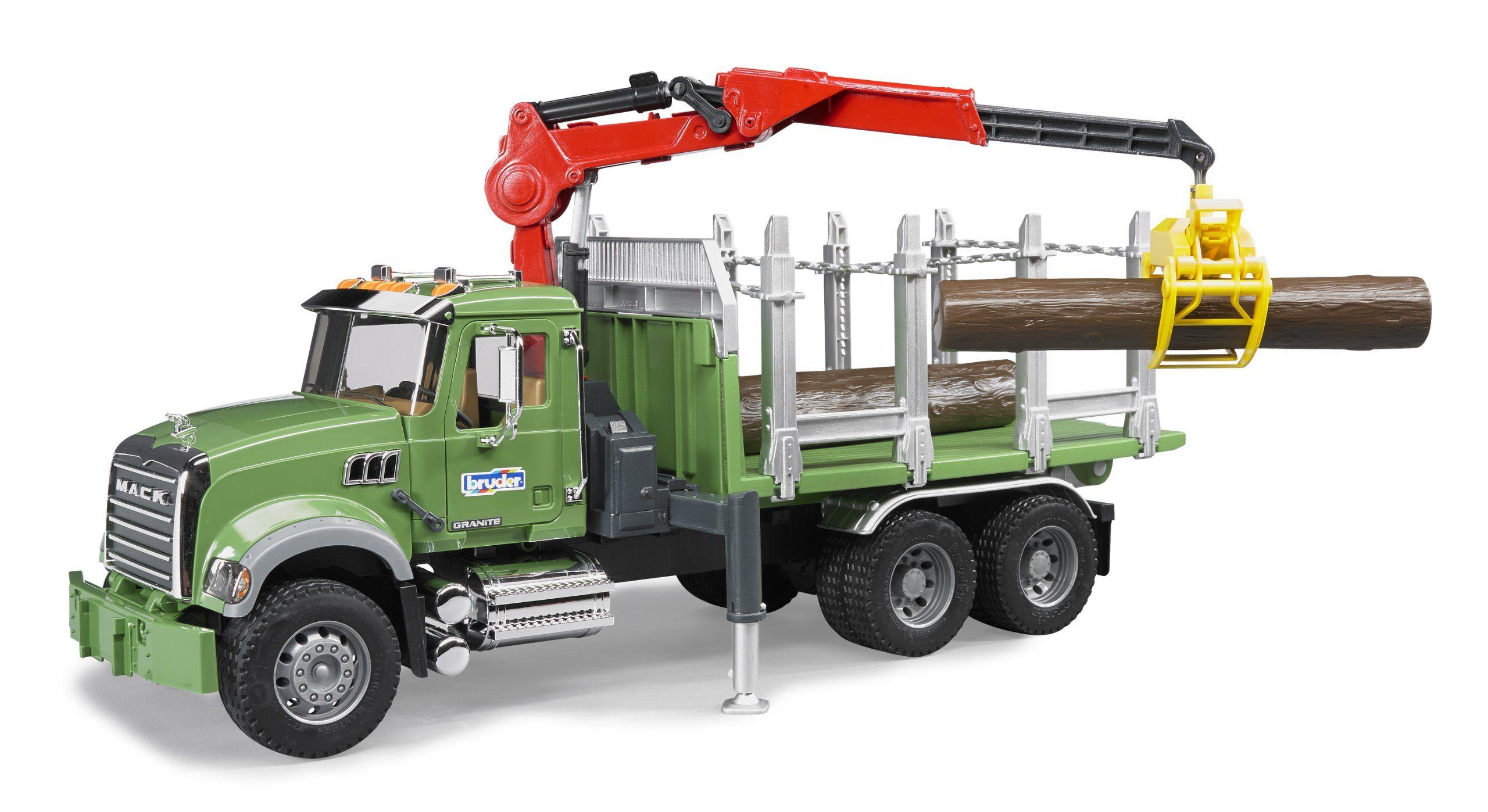 Amazon Com Bruder Mack Granite Timber Truck With Loading Crane And 3 Trunks Toys Games76 00 Trucks Toy Trucks Mack