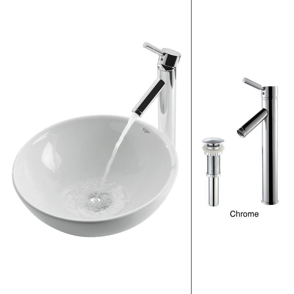 ac3b8e30b55 16-inch x 13.80-inch x 16-inch 1-Hole Circular Ceramic Bathroom Sink ...