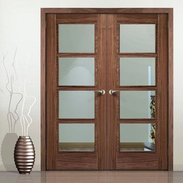 Vancouver Walnut 4L Door Pair with Clear Glass and Pre-finished