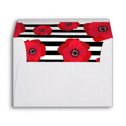 Red Poppy \ Black Stripes Pattern Lining Envelope - pattern sample - sample small envelope template