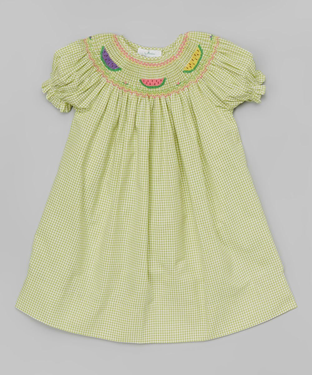 Green Gingham Watermelon Bishop Dress - Infant & Toddler