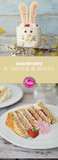 Osterhasen Torte mit Erdbeerfüllung und Quarkcreme #fondant