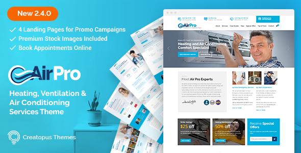 Review Download Airpro Heating And Air Conditioning Wordpress Theme For Maintenance Services O Airpro