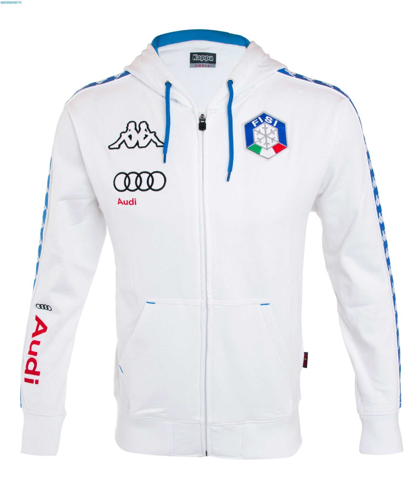 Kappa Men Italian Team Fisi Hooded Sweater White Kappa