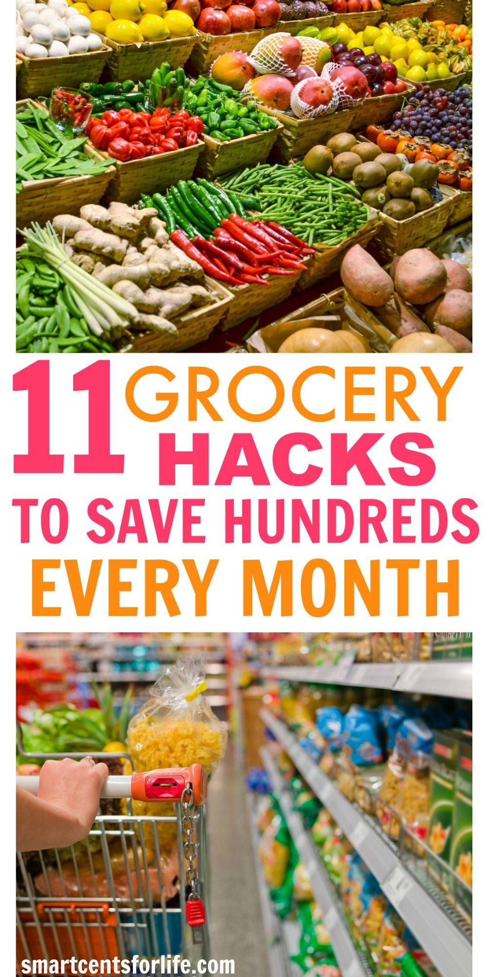 This list will show you the exact steps to save hundreds on groceries every month and without using coupons! Apply these 11 grocery hacks and start saving money now!